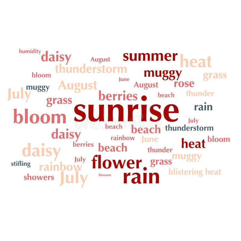 Moln av ordlistan om sommarsäsong royaltyfri illustrationer
