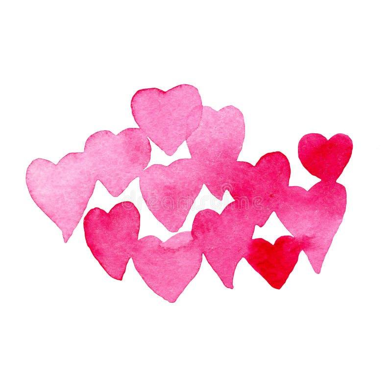 Moln av rosa hjärtor i vattenfärg F?r desing royaltyfria bilder