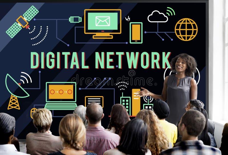 Moln Conce för nätverk för överföring Digital för global kommunikation online- fotografering för bildbyråer
