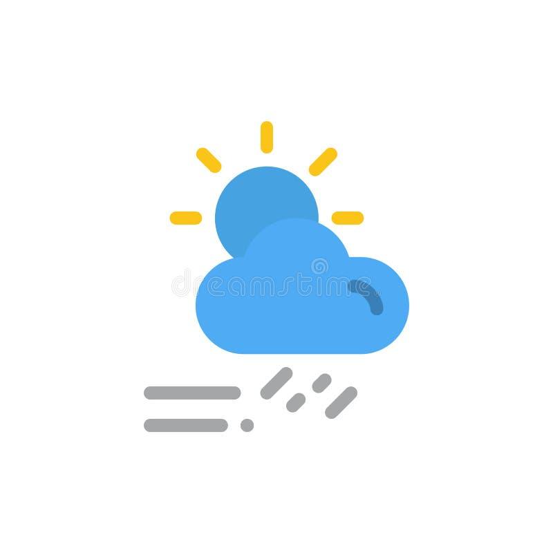 Moln dag som är regnig, säsong, plan färgsymbol för väder Mall för vektorsymbolsbaner stock illustrationer
