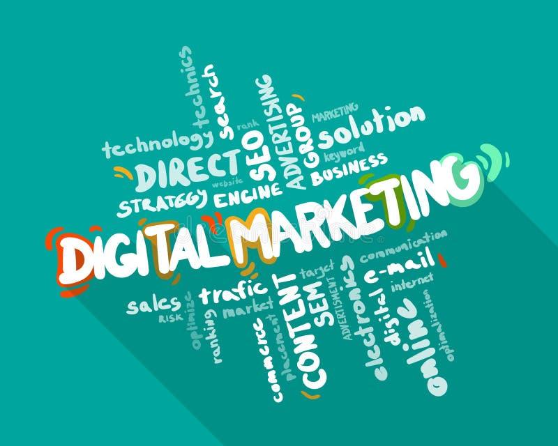 Moln för Digital marknadsföringsord royaltyfri illustrationer