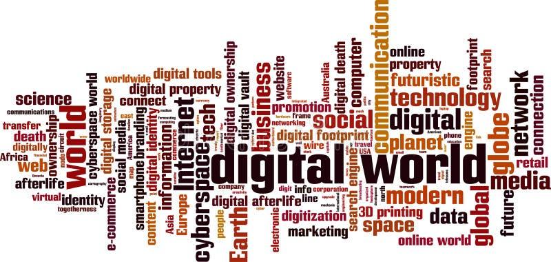 Moln för Digital världsord stock illustrationer
