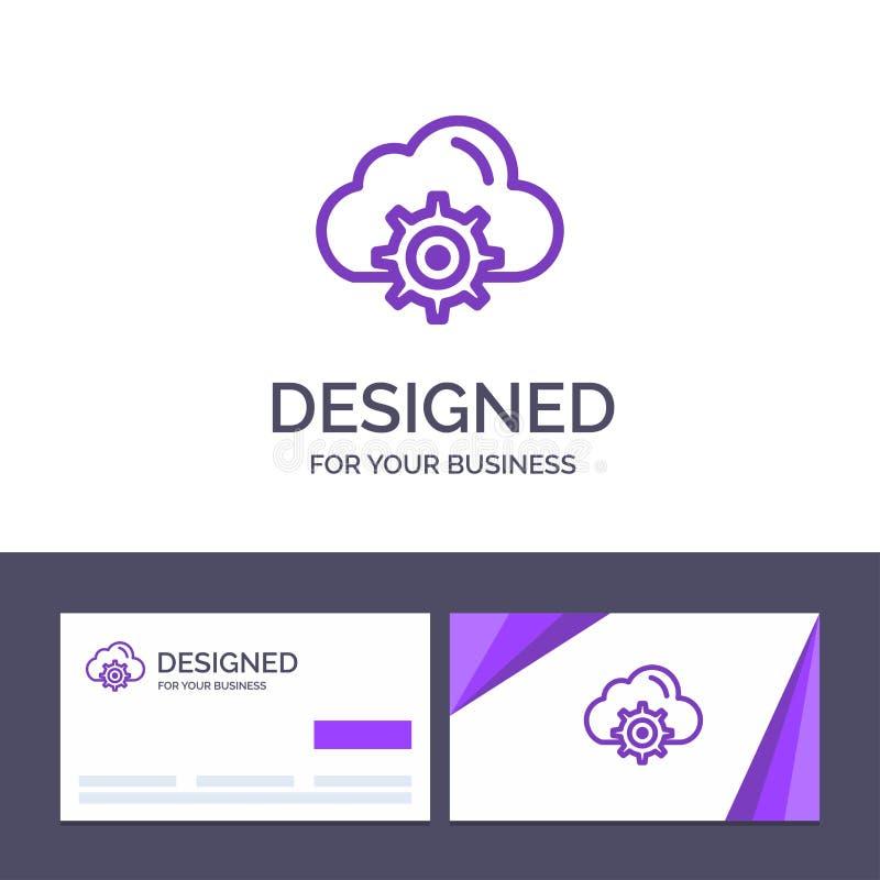 Moln för idérik mall för affärskort och logo, inställning, kugghjul, beräknande vektorillustration stock illustrationer