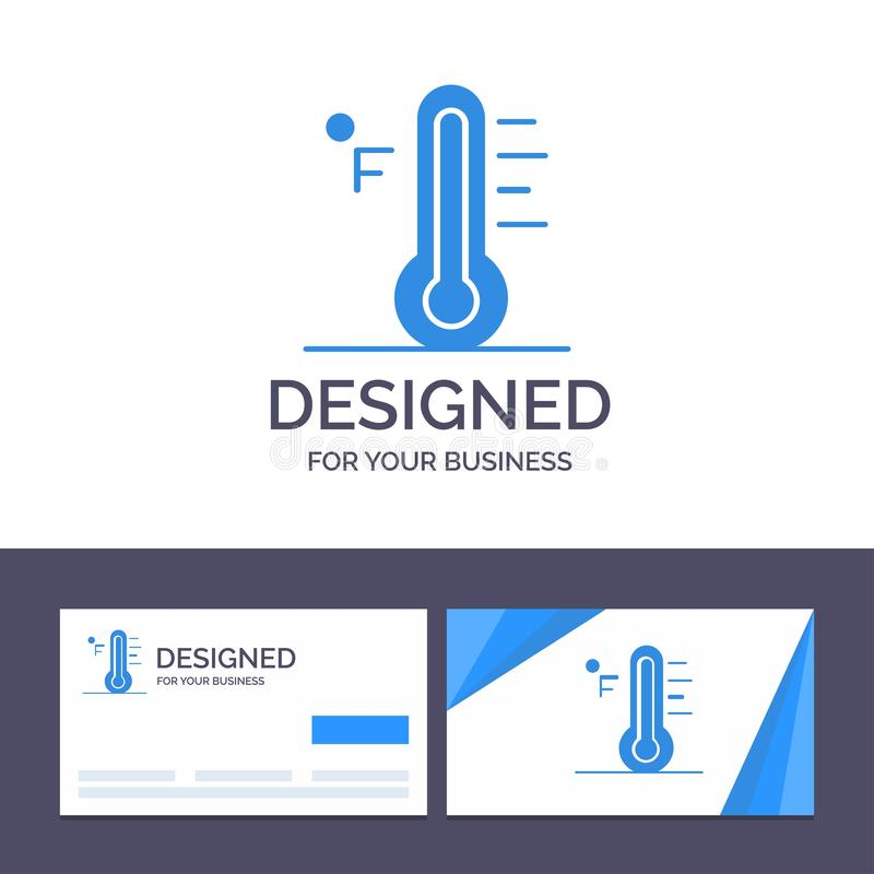 Moln för idérik mall för affärskort och logo, ljust som är regnigt, sol, temperaturvektorillustration stock illustrationer