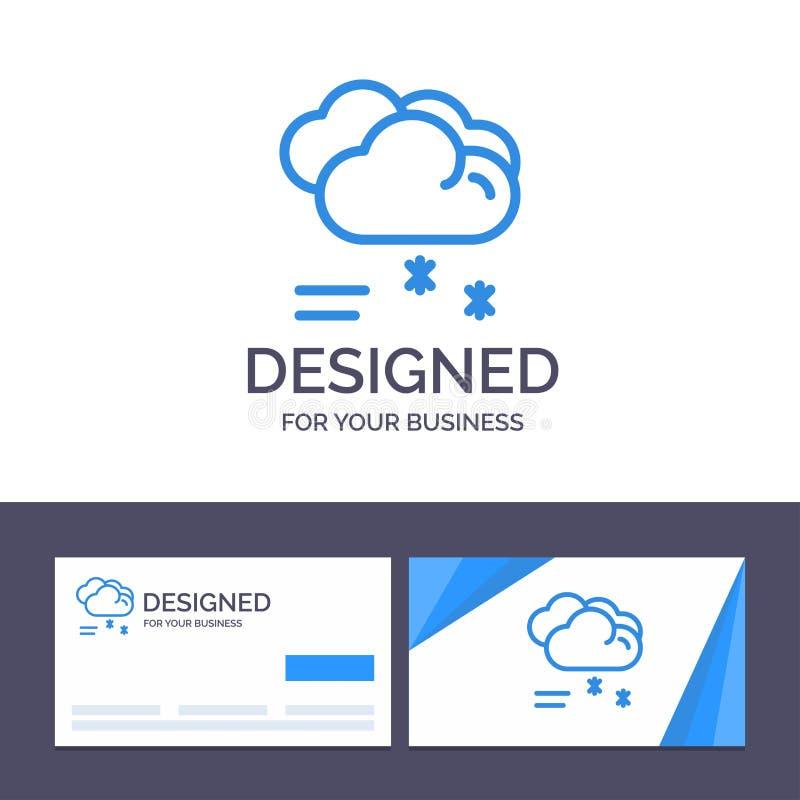 Moln för idérik mall för affärskort som och logoregnar, förutsett och att regna, regnig vädervektorillustration vektor illustrationer