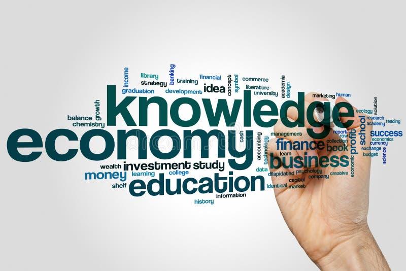 Moln för kunskapsekonomiord arkivfoton