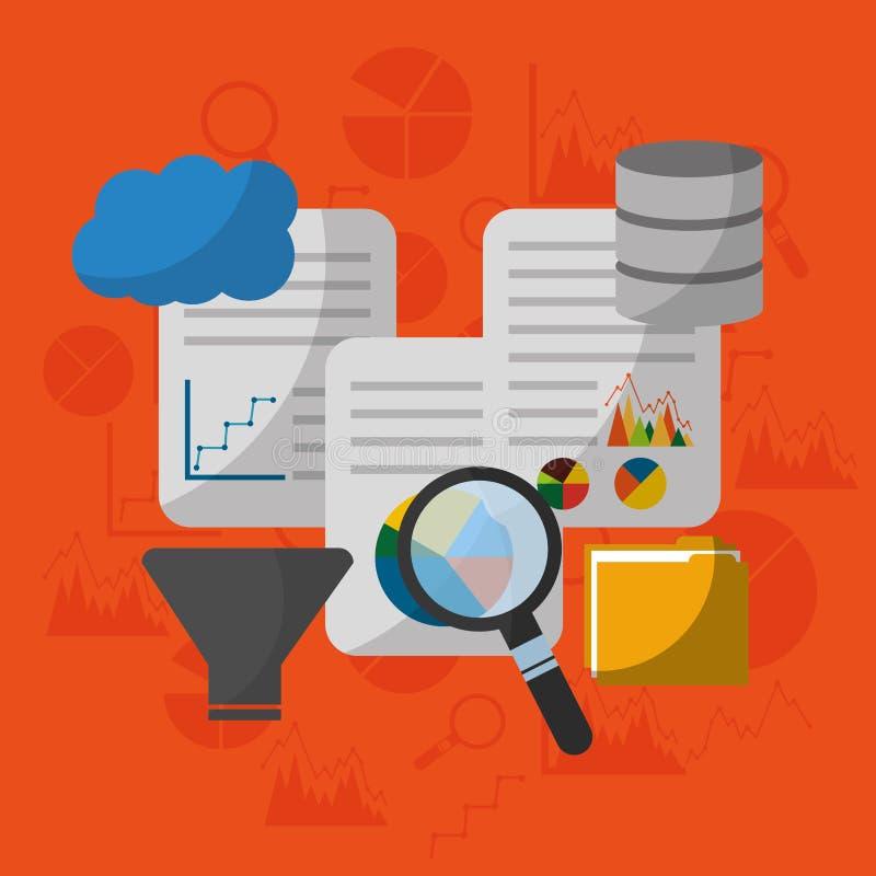 Moln för mitt för dokument för process för filter för sökande för datateknologianalys stock illustrationer