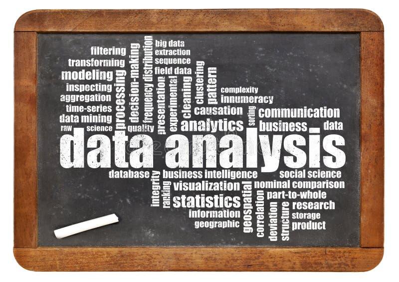 Moln för ord för dataanalys på svart tavla arkivbild
