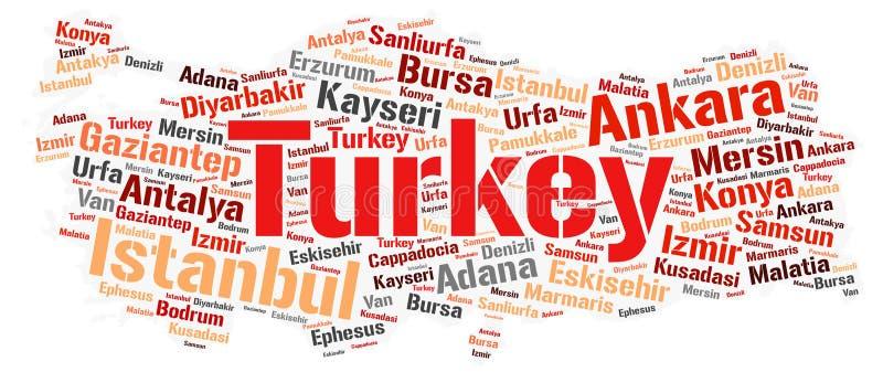 Moln för ord för destinationer för Turkiet överkantlopp royaltyfri illustrationer