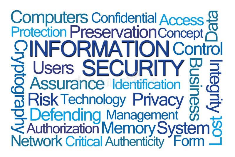 Moln för ord för informationssäkerhet arkivfoton