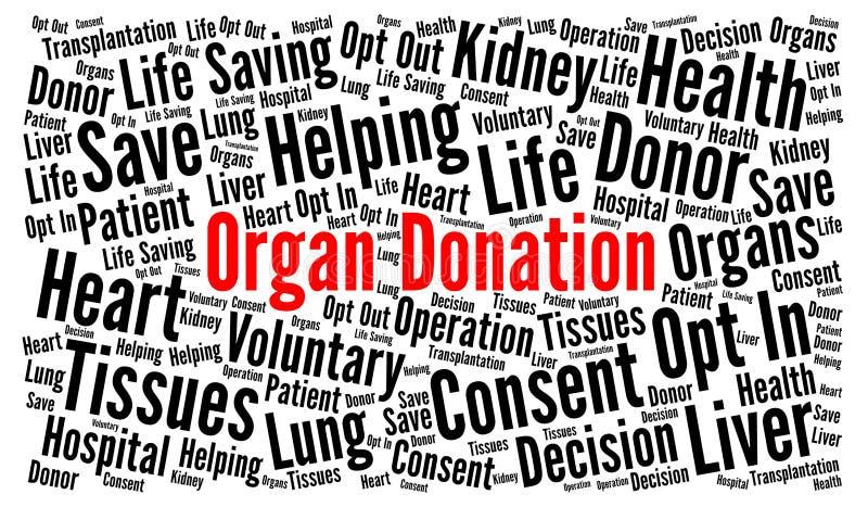 Moln för ord för organdonation stock illustrationer