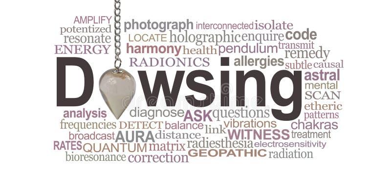 Moln för ord för Radionics sökande med slagrutahänge vektor illustrationer