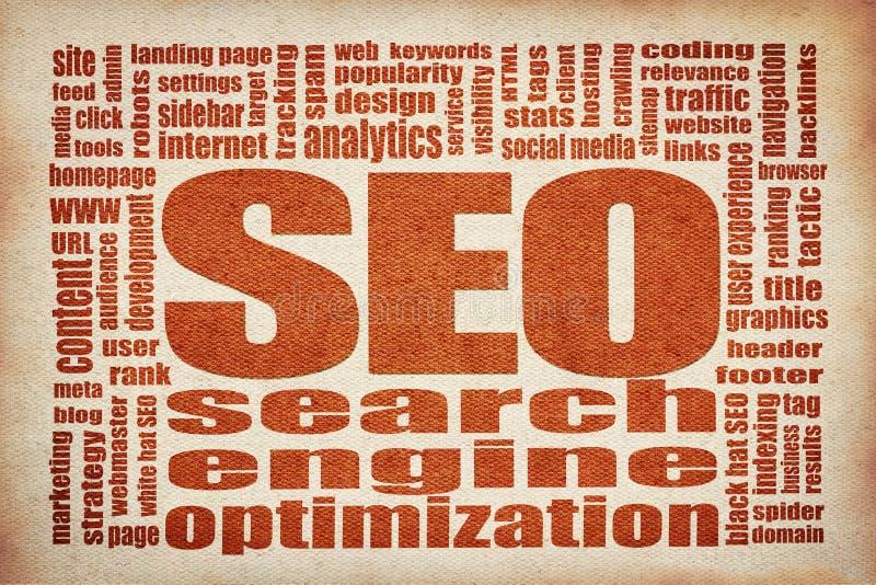Moln för ord för sökandemotoroptimization SEO stock illustrationer