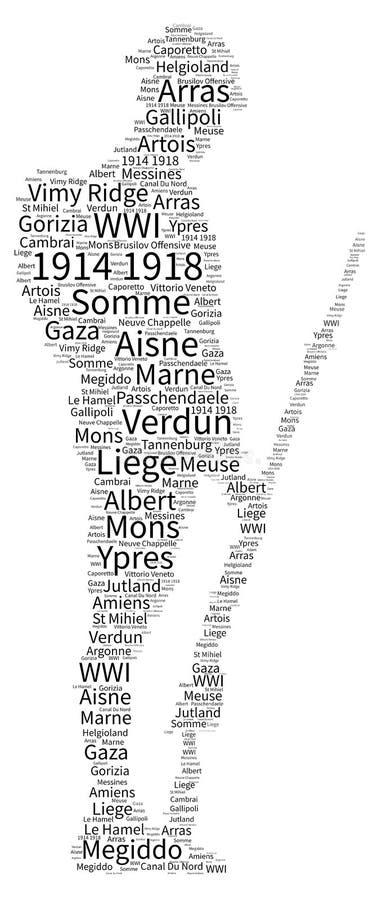 Moln för ord för strider för världskrig ett stock illustrationer