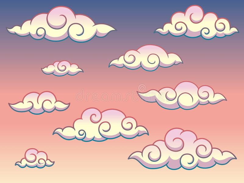 Moln för stil för japansk eller kinesisk virvel för regnbåge lockiga i illustrationen för himmelbakgrundsvektor royaltyfri illustrationer