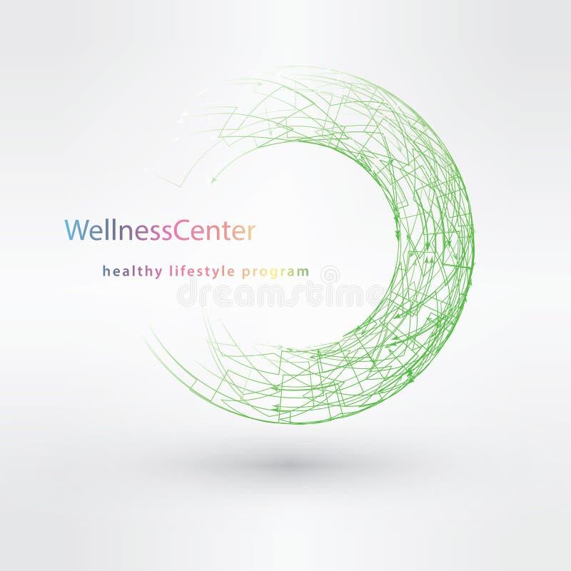 Moln för WELLNESScirkelstämpel, kondition, sport, vård- begrepp vektor illustrationer