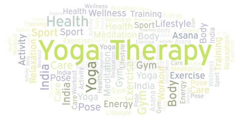 Moln för yogaterapiord royaltyfri illustrationer