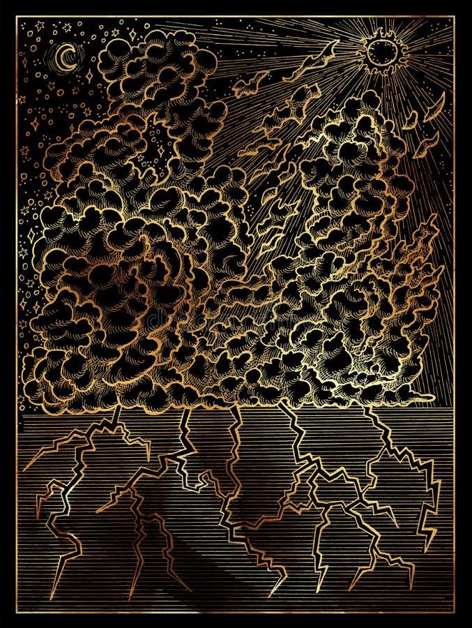 Moln Guld- inristad illustration på svart stock illustrationer