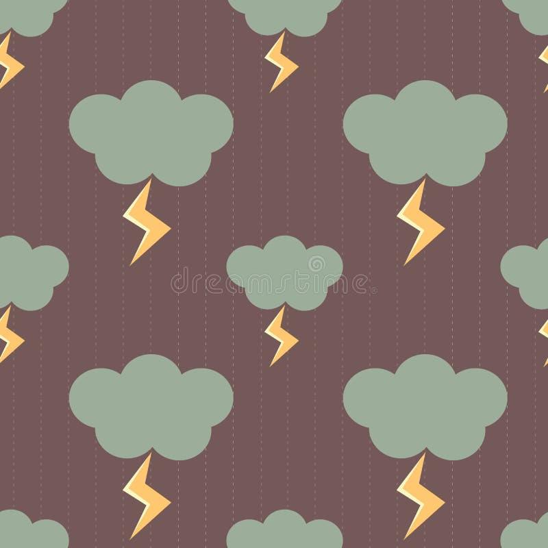 Moln i en regnig dag med för modellbakgrund för blixtar den sömlösa illustrationen royaltyfri illustrationer