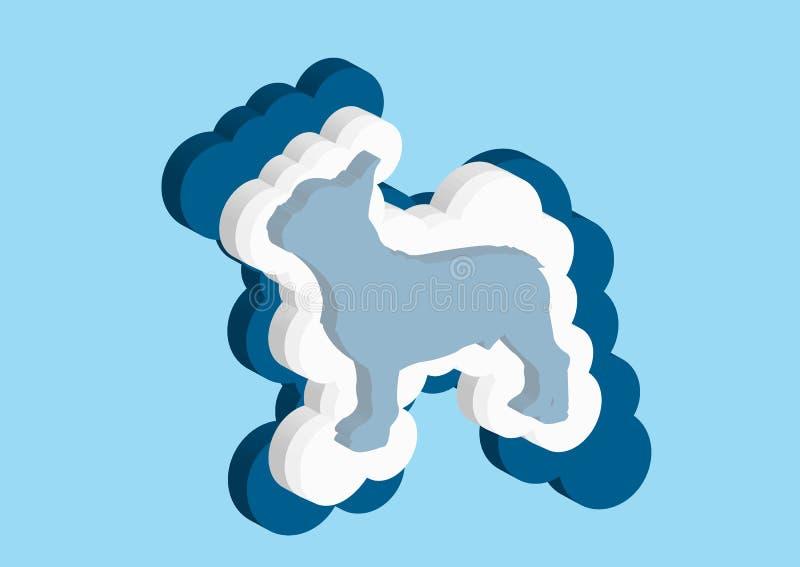 Moln i form av en fransk bulldogg Vektorsymboler fördunklar blått- och vitfärg på en blå bakgrund Himmel är en tät samling av royaltyfri illustrationer