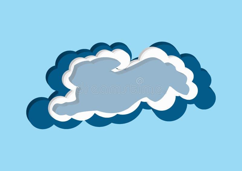 Moln i form av en hare Vektorsymboler fördunklar blått- och vitfärg på en blå bakgrund Himmel är en tät samling av illustrat vektor illustrationer