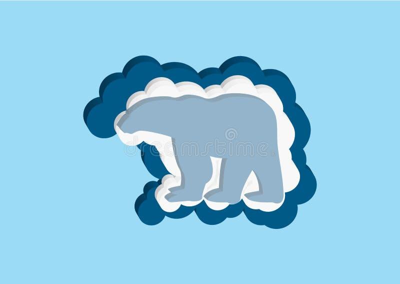 Moln i form av en isbjörn Vektorsymboler fördunklar blått- och vitfärg på en blå bakgrund Himmel är en tät samling av dåligt royaltyfri illustrationer