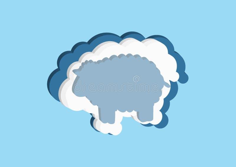 Moln i form av ett lamm Vektorsymboler fördunklar blått- och vitfärg på en blå bakgrund Himmel är en tät samling av illustrat royaltyfri illustrationer