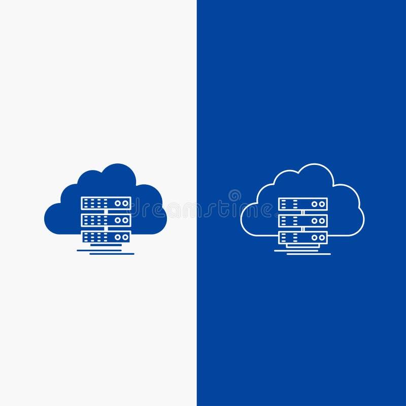 moln, lagring, beräkning, data, knapp för rengöringsduk för flödeslinje och skårai det vertikala banret för blå färg för UI och U stock illustrationer