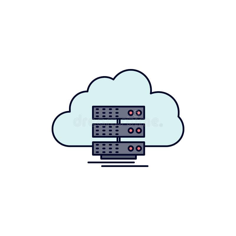 moln lagring som beräknar, data, för färgsymbol för flöde plan vektor stock illustrationer