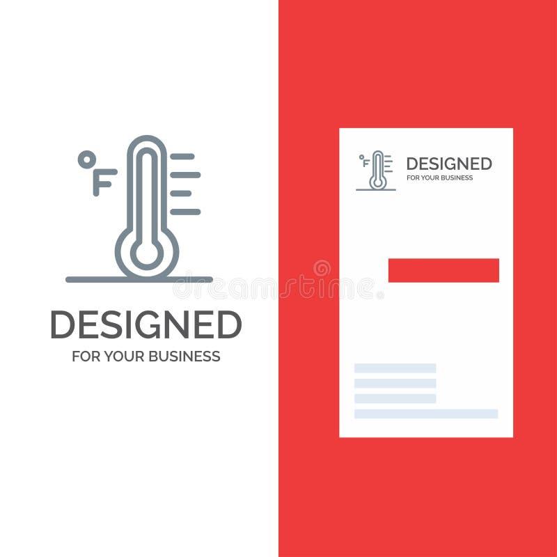 Moln, ljust, regnigt, sol, temperatur Grey Logo Design och mall för affärskort royaltyfri illustrationer