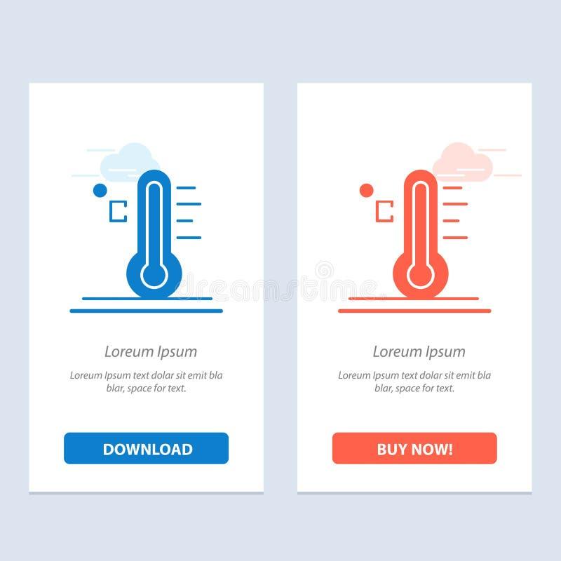 Moln, ljust, regnigt, sol, temperaturblått och röd nedladdning och att köpa nu mallen för rengöringsdukmanickkort royaltyfri illustrationer