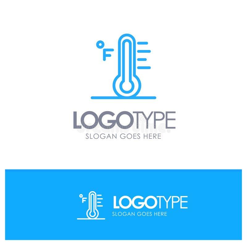 Moln ljust som är regnigt, sol, blå översikt Logo Place för temperatur för Tagline vektor illustrationer