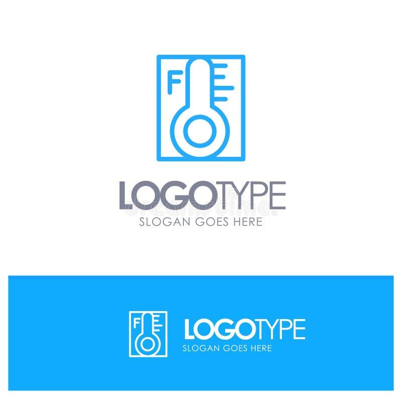 Moln ljust som är regnigt, sol, blå översikt Logo Place för temperatur för Tagline royaltyfri illustrationer
