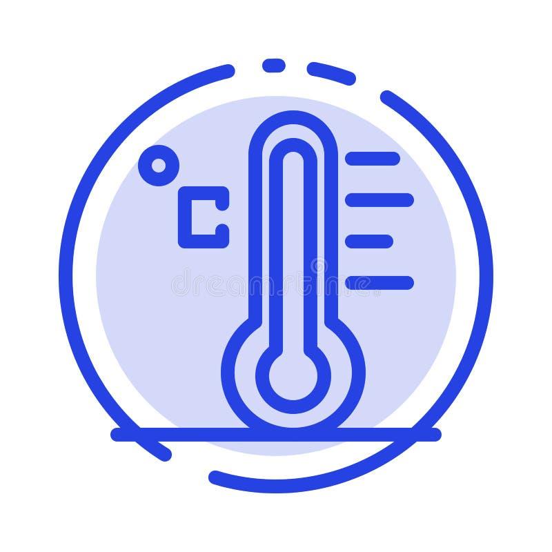 Moln ljust som är regnigt, sol, blå prickig linje linje symbol för temperatur stock illustrationer