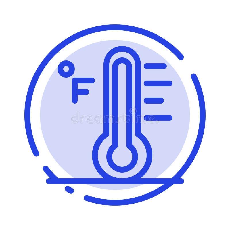 Moln ljust som är regnigt, sol, blå prickig linje linje symbol för temperatur vektor illustrationer