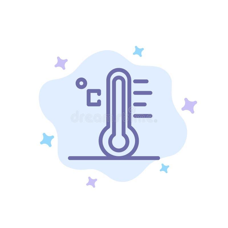 Moln ljust som är regnigt, sol, blå symbol för temperatur på abstrakt molnbakgrund stock illustrationer