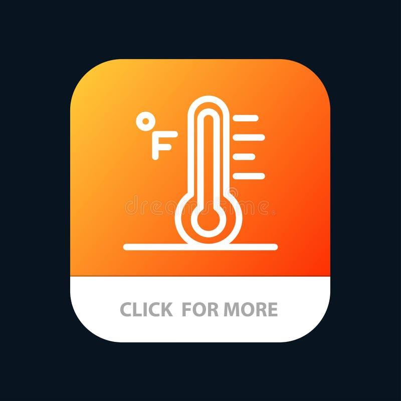 Moln ljust som är regnigt, sol, mobil Appknapp för temperatur Android och IOS-linje version vektor illustrationer