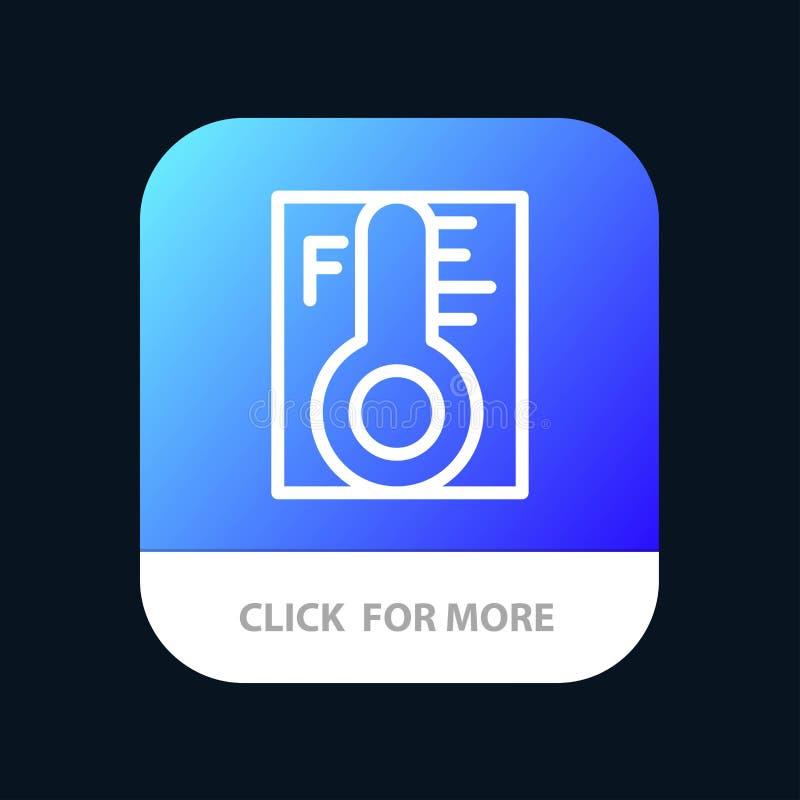 Moln ljust som är regnigt, sol, mobil Appknapp för temperatur Android och IOS-linje version stock illustrationer