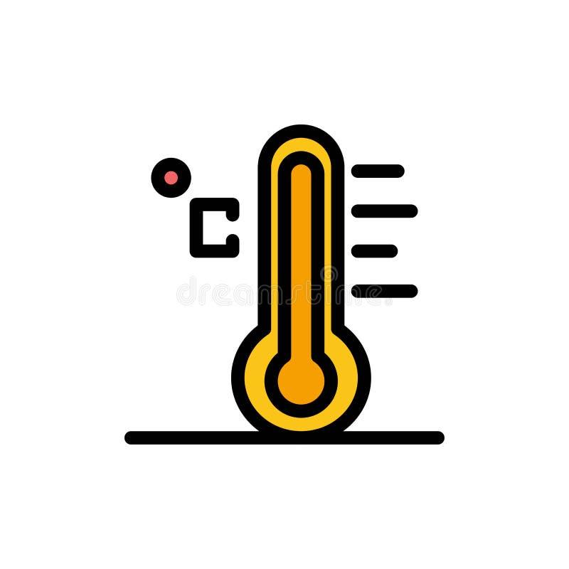 Moln ljust som är regnigt, sol, plan färgsymbol för temperatur Mall för vektorsymbolsbaner vektor illustrationer