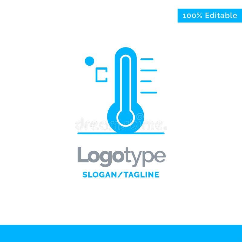 Moln ljust som är regnigt, sol, temperatur blåa fasta Logo Template St?lle f?r Tagline stock illustrationer
