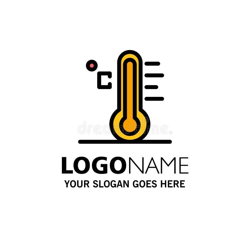 Moln ljust som är regnigt, sol, temperaturaffär Logo Template plan f?rg stock illustrationer