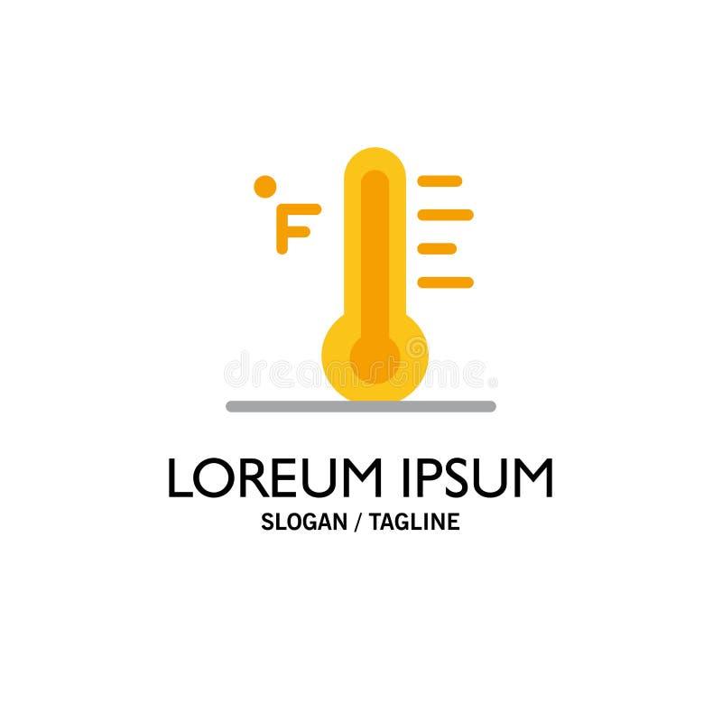 Moln ljust som är regnigt, sol, temperaturaffär Logo Template plan f?rg vektor illustrationer