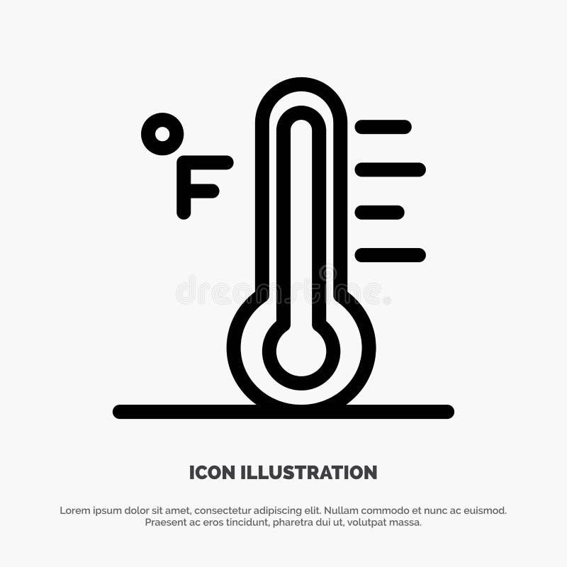 Moln ljust som är regnigt, sol, temperaturlinje symbolsvektor stock illustrationer