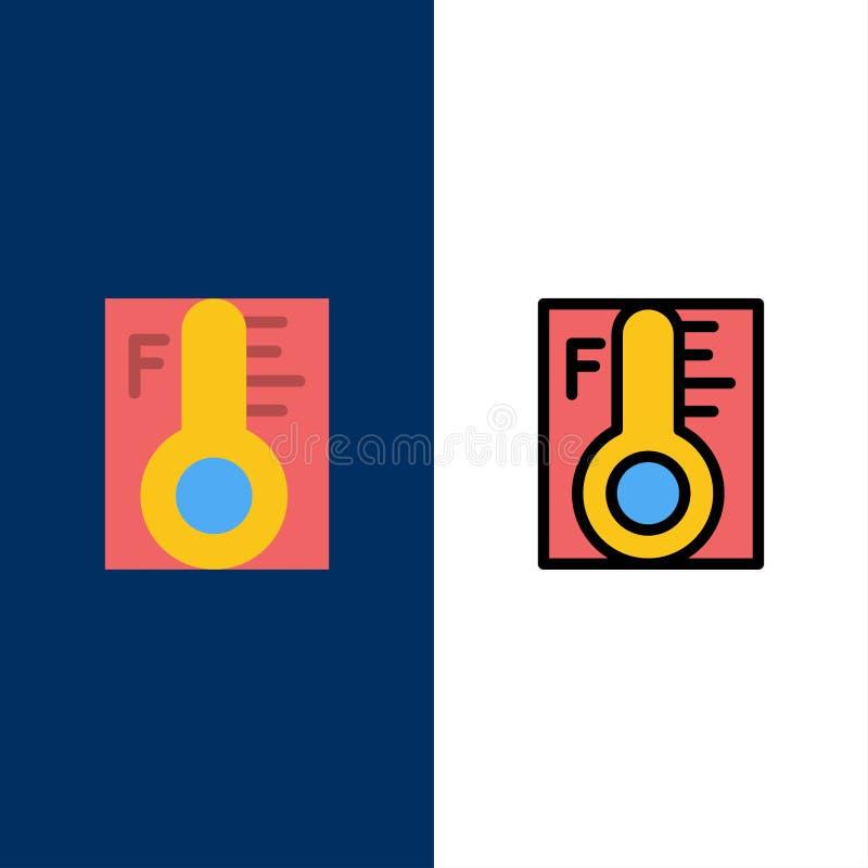Moln ljust som är regnigt, sol, temperatursymboler Lägenheten och linjen fylld symbol ställde in blå bakgrund för vektorn royaltyfri illustrationer