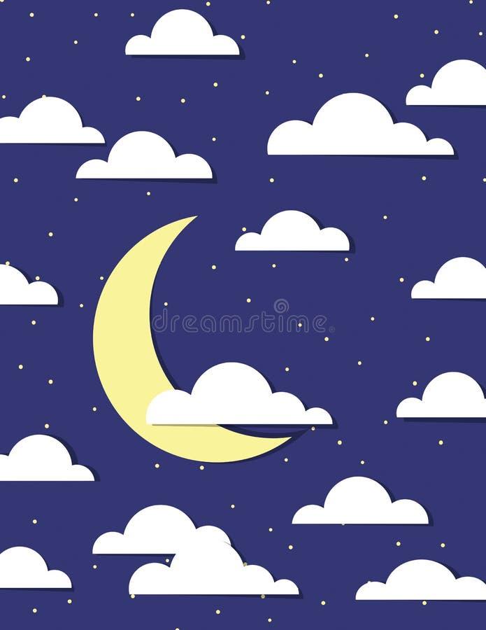 Moln, måne och stjärna stock illustrationer
