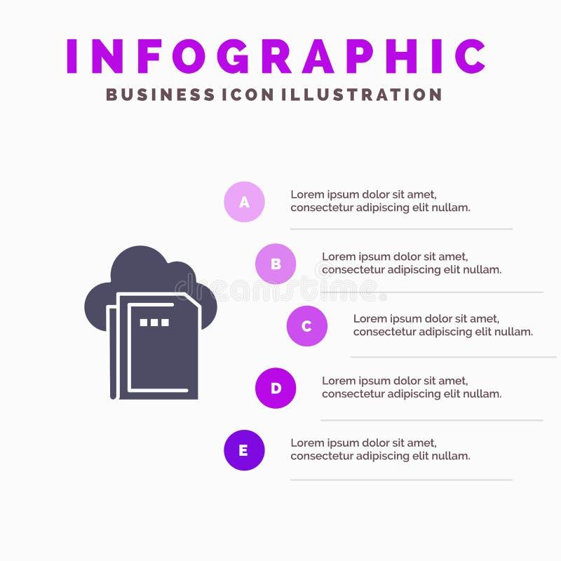 Moln mapp, data, beräknande Infographics presentationsmall Presentation för 5 moment royaltyfri illustrationer