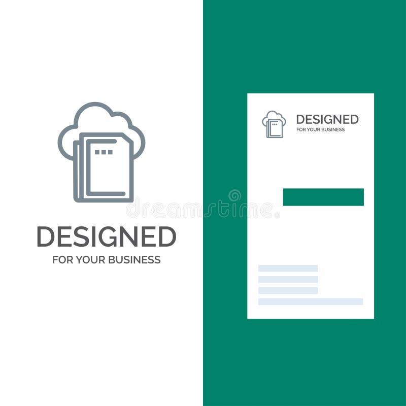 Moln, mapp, data-, beräkningsGrey Logo Design och mall för affärskort vektor illustrationer