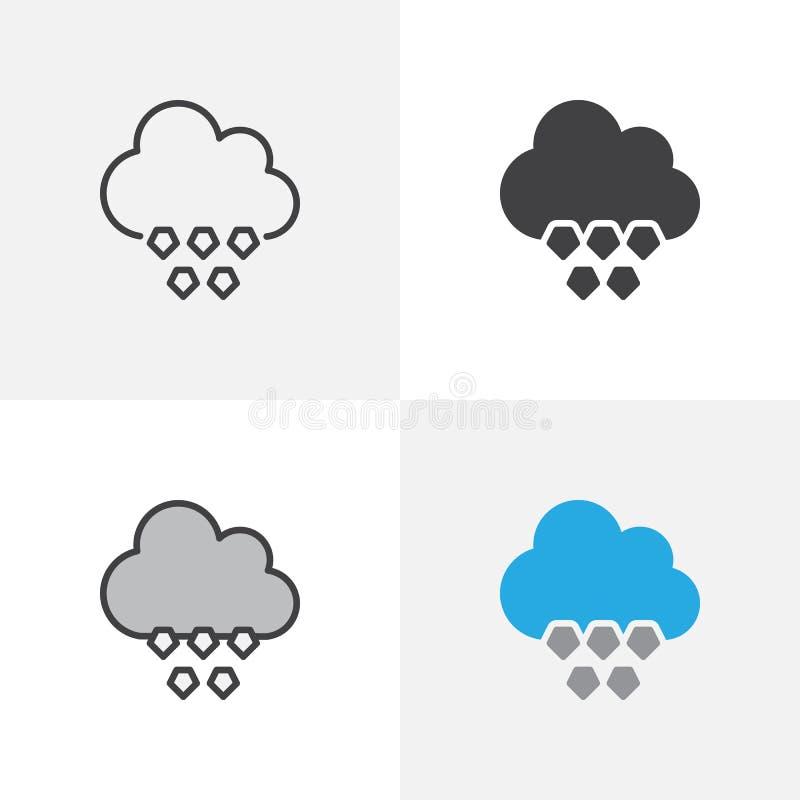 Moln med hagelsymbolen stock illustrationer