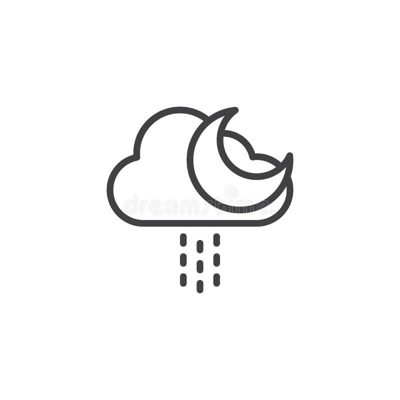 Moln med regndroppar och måneöversiktssymbolen royaltyfri illustrationer