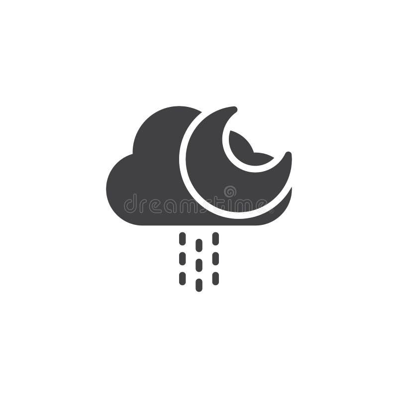 Moln med regndroppar och månevektorsymbolen royaltyfri illustrationer